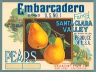 Art Prints of 006 Embarcadero Pears, Fruit Crate Labels