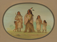 Art Prints of Assinneboine Warrior and His Family by George Catlin
