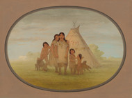 Art Prints of Camanchee Chiefs Children and Wigwam by George Catlin