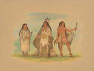 Art Prints of Three Minatarree Indians by George Catlin