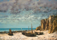 Art Prints of Boats on a Beach, Etretat by Gustave Courbet