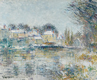 Art Prints of The Loing at Moret, Snow Effect by Gustave Loiseau