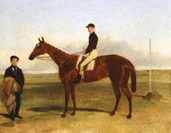 Art Prints of A Bay Racehorse with Jockey Up by Harry Hall
