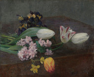 Art Prints of Hyacinth and Tulips on a Table by Henri Fantin-Latour