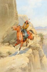 Art Prints of Apache on a Trail by Herman Wendelborg Hansen