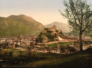 Art Prints of The City and the Castle, Lourdes, Pyrenees, France (387549)