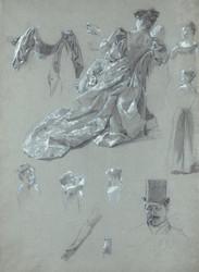 Art Prints of Sheet of Figure Studies by James-Jacques-Joseph Tissot