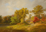 Art Prints of Autumn Landscape with Shepherd Dog and Sheep by Jasper Francis Cropsey