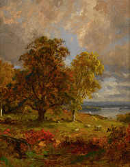 Art Prints of Landscape with Trees and Sheep Near a Copse by Jasper Francis Cropsey