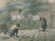 Art Prints of The First Steps, 1858 by Jean-Francois Millet