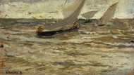 Art Prints of Boats on the Asturias by Joaquin Sorolla y Bastida