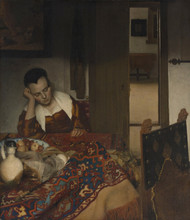 Art Prints of A Maid Asleep by Johannes Vermeer