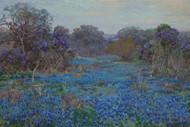 Art Prints of Field of Bluebonnets with Trees by Julian Onderdonk