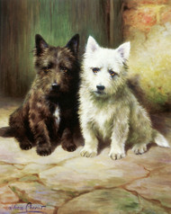 Art Prints of Darby and Joan, Scottish and Westie Terriers by Lilian Cheviot