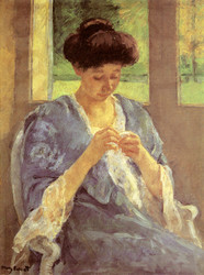 Art Prints of Augusta Sewing before a Window by Mary Cassatt