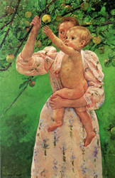Art Prints of Baby Reaching for an Apple by Mary Cassatt