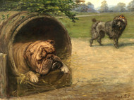 Art Prints of A British Bulldog and a French Poodle by Maud Earl