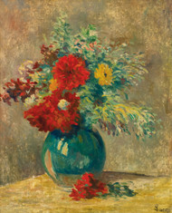 Art Prints of Green Vase with Multicolored Flowers by Maximilien Luce