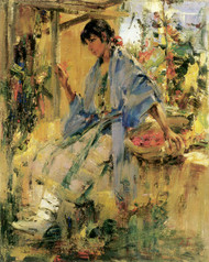 Art Prints of Pueblo Girl with Blue Shawl by Nicolai Fechin