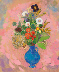 Art Prints of Flowers, Blue vase and Pink Background by Odilon Redon