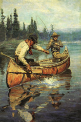 Art Prints of Two Fishermen in a Birch Canoe by Philip Goodwin