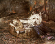 Art Prints of By the Fireside, a Yorkshire and Westie by Robert Morley