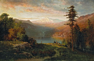 Art Prints of Indian by a Lake in a Majestic California Landscape by Thomas Hill
