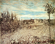 Art Prints of Cottages with a Woman Working in the Foreground by Vincent Van Gogh