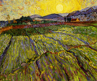 Art Prints of Wheatfield with Rising Sun by Vincent Van Gogh