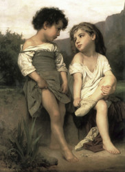 Art Prints of At the Edge of the Brook 2 by William Bouguereau