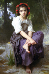 Art Prints of At the Edge of the Brook by William Bouguereau