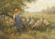 Art Prints of Landscape with a Shepherdess and Sheep by William Kay Blacklock