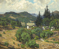 Art Prints of Houses in the Mountain Resort by William Wendt