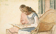 Art Prints of Two Girls Looking at a Book by Winslow Homer