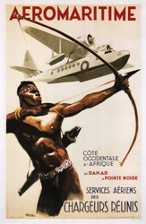Aeromaritime French African Vintage Travel Poster, Travel Posters