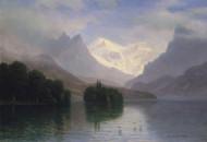 Mountain Scene by Albert Bierstadt | Fine Art Print