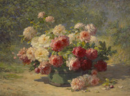 Art Prints of A Mixed Bouquet of Roses in a Green Barrel by Abbott Fuller Graves