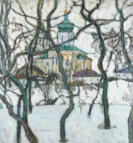 Art Prints of Winter Scene with Church by Abraham Manievich