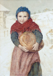 Art Prints of Girl with a Loaf of Bread by Albert Anker