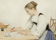 Art Prints of Young Woman Writing a Letter, 1903 by Albert Anker