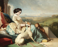 Art Prints of Chatelaine with Greyhounds on the Terrace by Alfred de Dreux