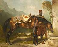 Art Prints of Hassan Arab Stallion and Haik to the Trough by Alfred de Dreux