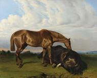 Art Prints of Two Horses in a Landscape by Alfred de Dreux