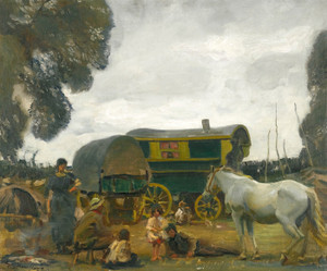 Art Prints of The Green Caravan, Hop-Picking Gypsies by Alfred James Munnings
