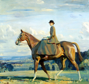 Art Prints of Portrait of Lady Barbara Lowther on Horseback by Alfred James Munnings