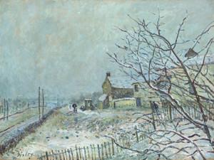 Art Prints of First Snow at Veneux Nadon by Alfred Sisley