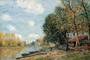 Art Prints of Moret, the Banks of the River Loing by Alfred Sisley