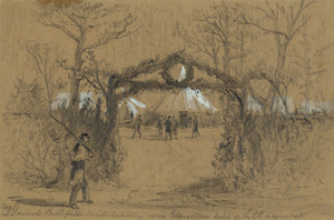 Art Prints of Major General Butterfield's Winter Quarters (21349L) by Alfred Waud