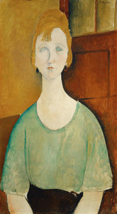 Art Prints of Girl in a Green Blouse by Amedeo Modigliani