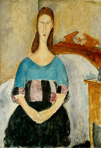 Art Prints of Portrait of Jeanne Hebuterne Seated by Amedeo Modigliani
